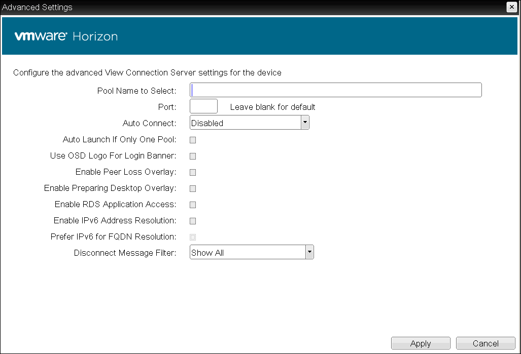 OSD View Connection Server + Auto-Logon Session Settings - PCoIP
