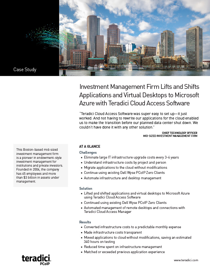 Investment Management Firm Lifts and Shifts Applications and