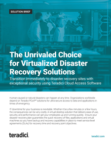 Disaster Recover Solution Brief