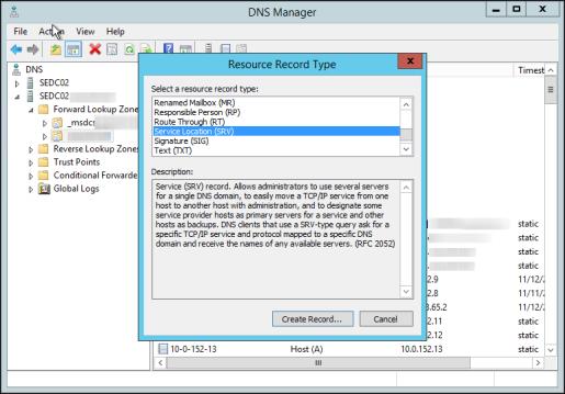 Configuring DNS Service Record Discovery