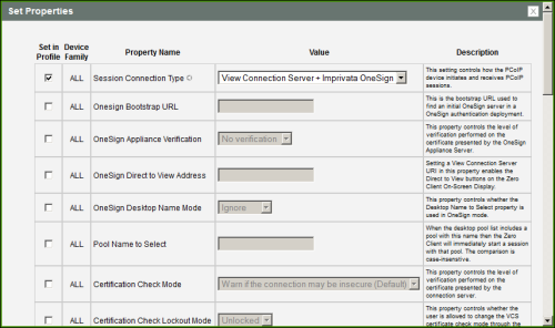 MC: View Connection Server + Imprivata OneSign Session Settings