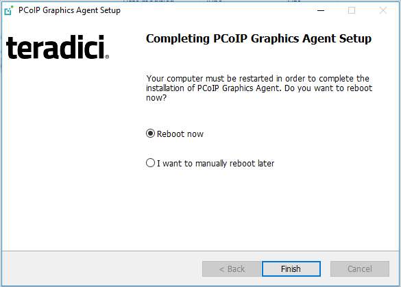 3  Install the Agent - Teradici Graphics Agent for Windows