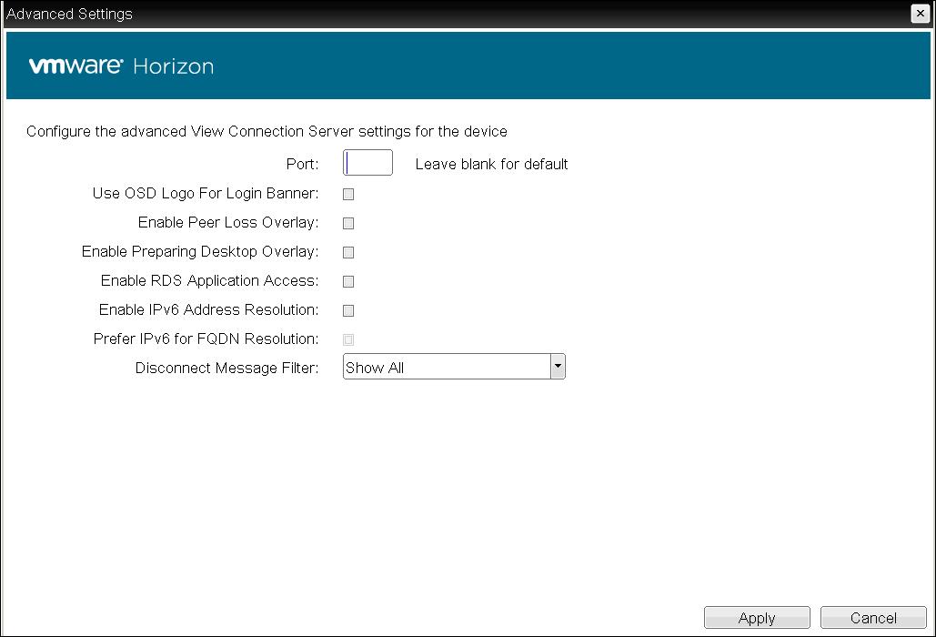 OSD: View Connection Server + Kiosk Session Settings